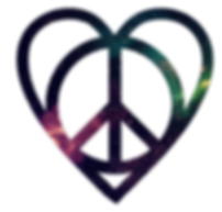 peace and love symbol with a galaxy texture