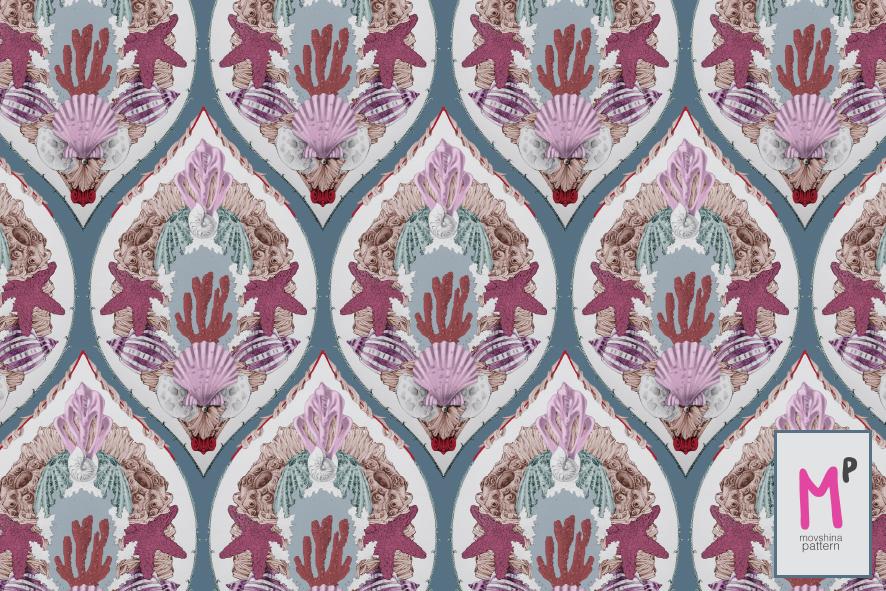 movshinapattern home seashells red