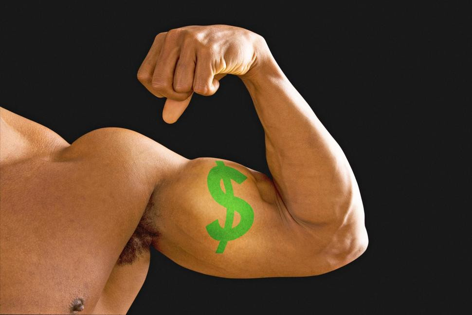 Bicep muscle showing financial strength