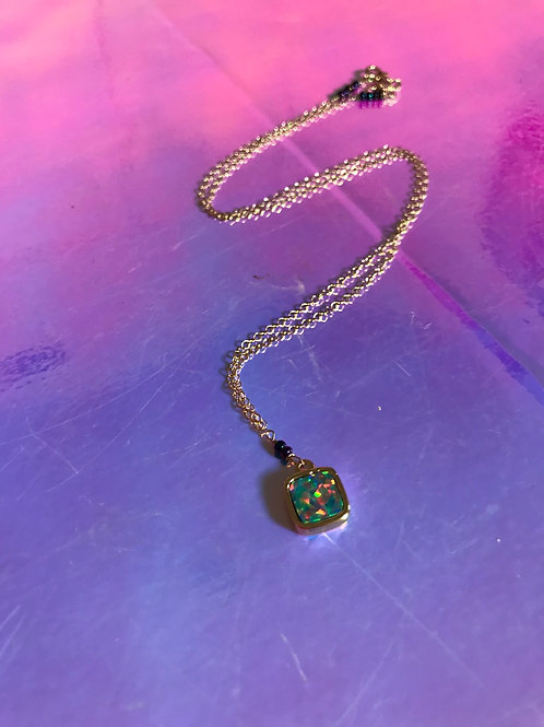 Opal square Necklace