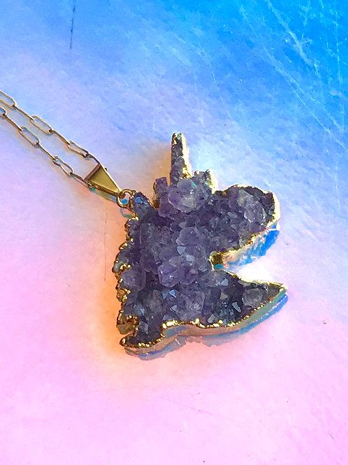 Amethyst Unicorn Gold Necklace