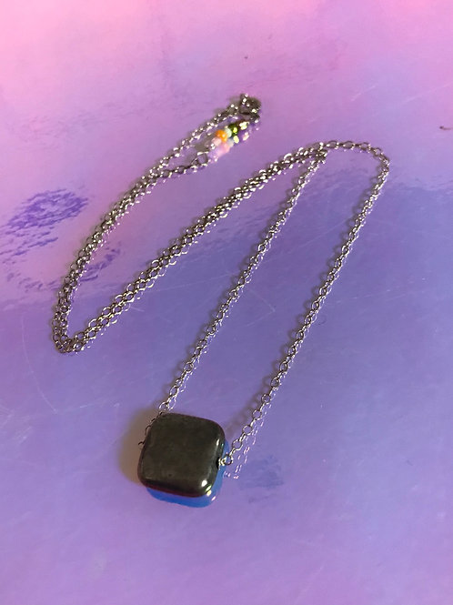 Square Pyrite Necklace