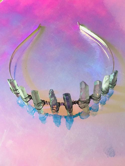 Aqua Aura Quartz Crown