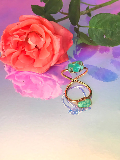 Double Twist Turquoise Ring