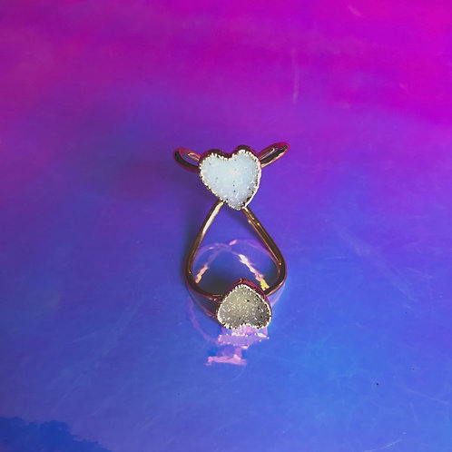 Triple Heart Druzy Ring