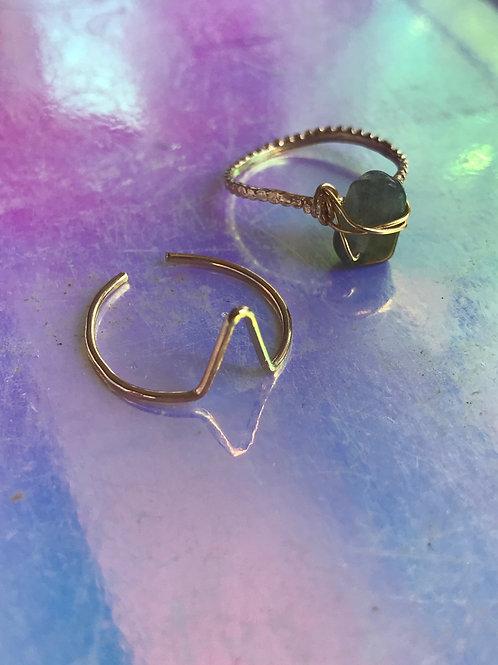 2 rings Labradorite Stone Ring