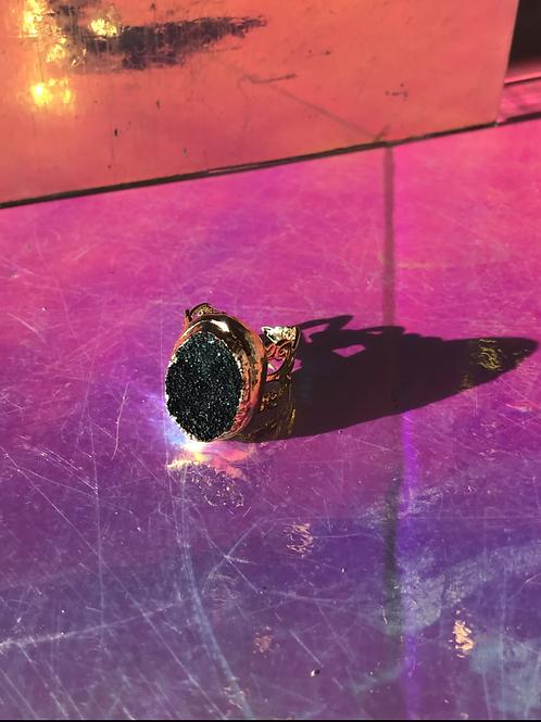 Dark Druzy Chrysocolla Ring