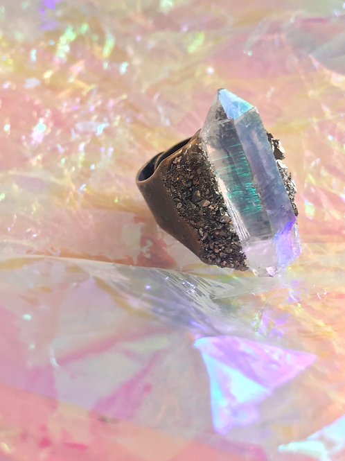 angle Aura and pyrite ring