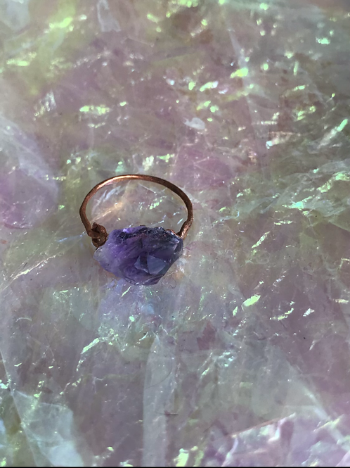 Small Copper Amethyst Rock Ring