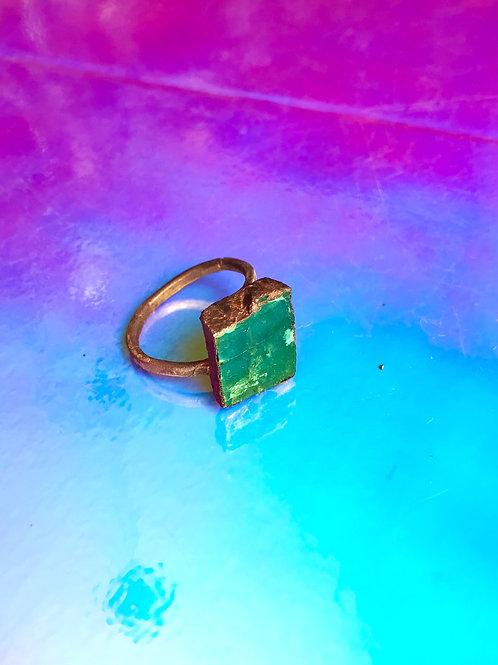 Copper Sqare Labradorite ring