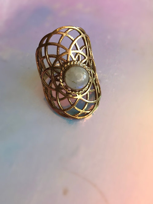Moon Stone Vibrating Energy ring