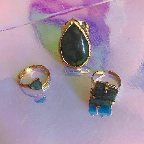 Square Labradorite Protection Ring
