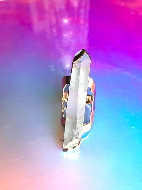 Positive Energy Crystal Quartz Ring