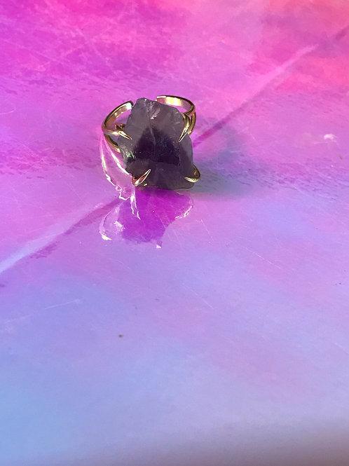Raw Dark Purple Amethyst Ring