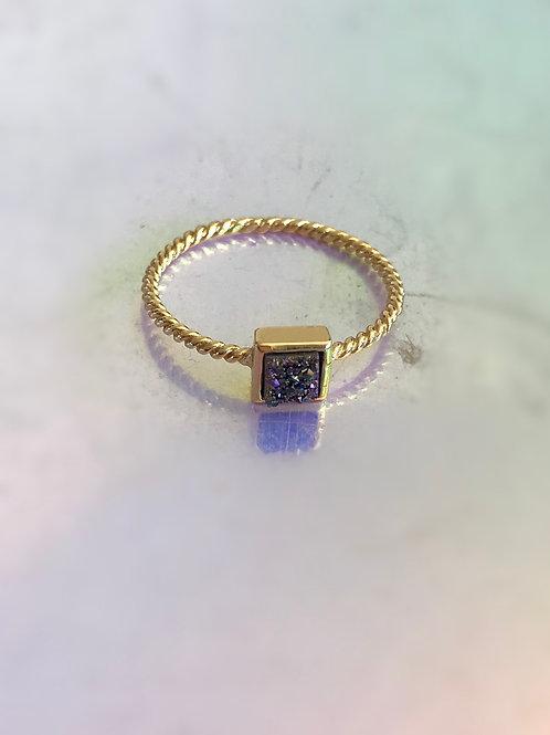 Square Titanium Rainbow aura Ring