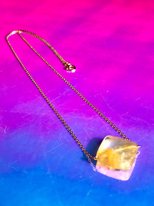 Cube Citrine Necklace