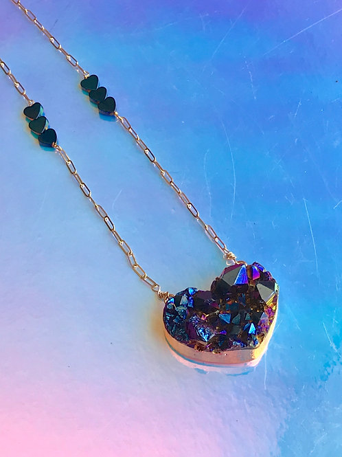Titanium Quartz Hart Necklace