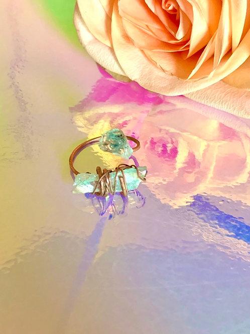 2 Iridescent Angel Quartz Ring