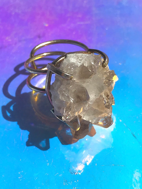 Raw Smoky Quartz Art Ring