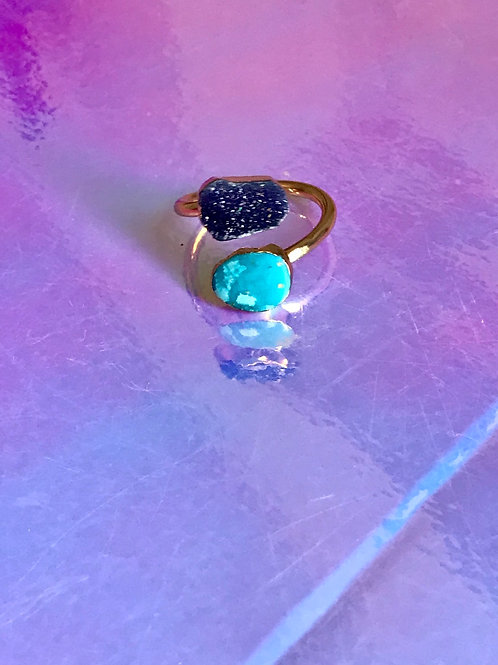 Turquoise Druzzy Purple Ring