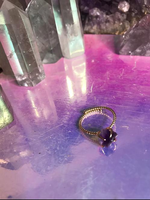 Raw Small Dark Purple Amethyst Ring