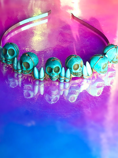Turquoise Skull  Crown