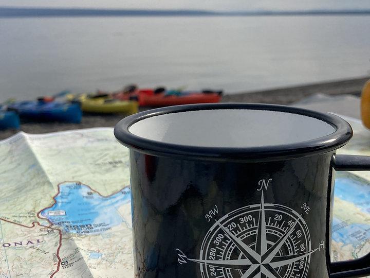 coffee and kayaks on Yellowstone Lake
