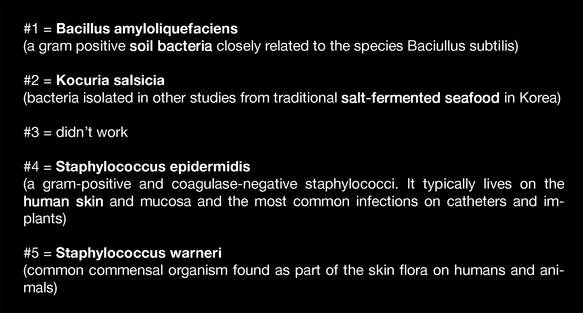 Specified bacterias