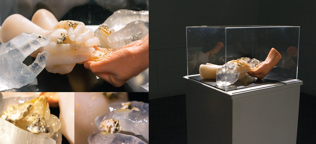 Nuruk fungi, hand sculpture, Jiwon Woo
