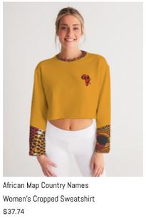 African Names Cropped Sweatshirt