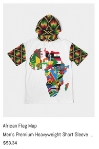 African Flag Map Men's Short Sleeve Hood