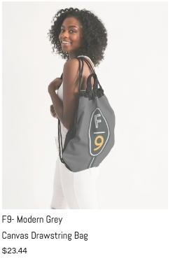 F9 Modern Grey Drawstring Bag