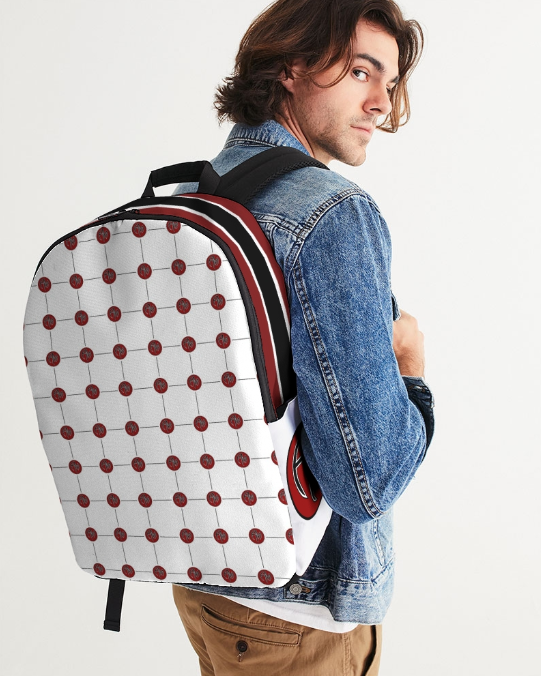 AM White Pattern Lg BackPack