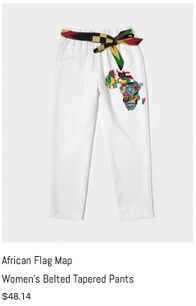 African Flag Maps Womens Belted Pants.pn