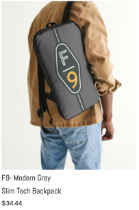 F9 Modern Grey Slim Tech Backpack