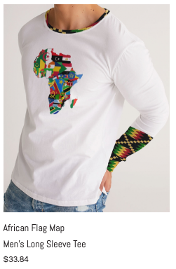 African Flag Map Men's Long Sleeve Tee.p