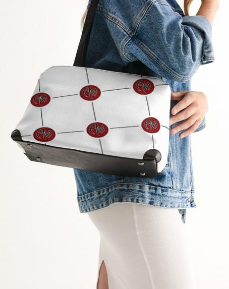 AM White Patttern Shoulder Bag