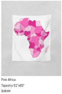 """Pink Africa Tapestry 51"""" x 60"""""""