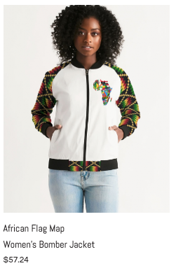 African Flag Map Women's Bomber Jacket.p