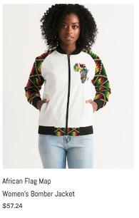 African Flag Map Women's Bomber Jacket.p
