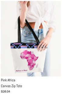 Pink Africa Canvas Zip Tote