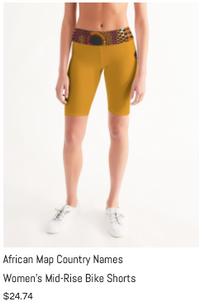 African Names Mid-Rise Bike Shorts