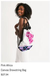 Pink Africa Canvas Drawstring Bag