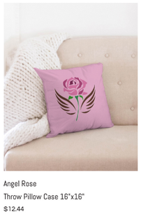 Angel Rose Throw Pillow Case 16x16.png