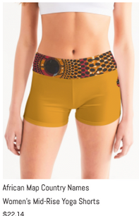 African Names Mid-Rise Yoga Shorts.png