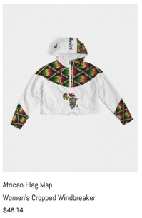 African Flag Map Women's Cropped Windbre