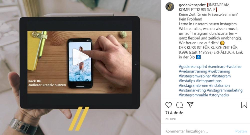 Instagram Posting Beispiel von Gedankensprint