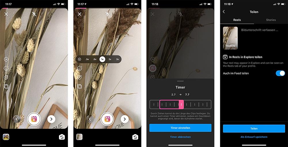 Instagram Reels Ansichten in der App