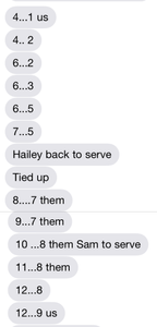 text back and forth at volleybal match