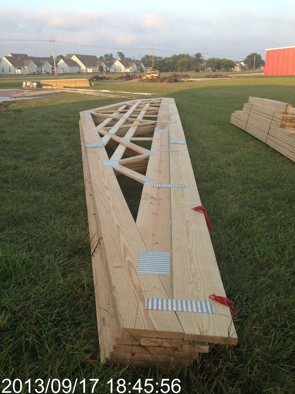 Trusses for the 60 ft lenght of our hangar.